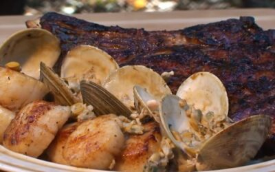 Rib Steak And Scallops With Clam Sauce